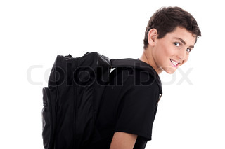 Side pose of student with school bag on isolated background