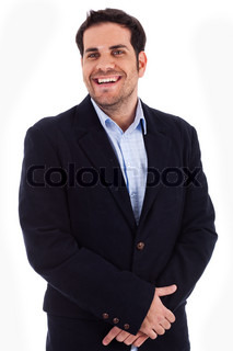 Handsome young business man smiling on a isolated white background