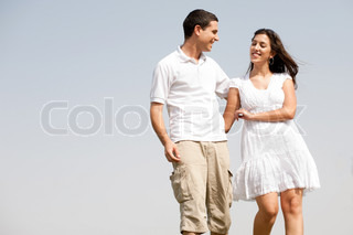 young love couple walk togther and Hugging