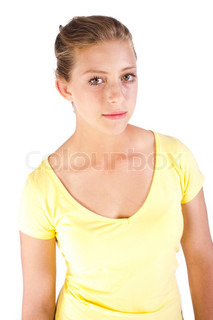 Close-up of beautiful young girl in yellow t-shirt