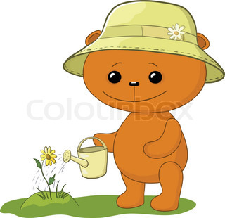Vector, teddy bear gardener waters a bed with a flower ...