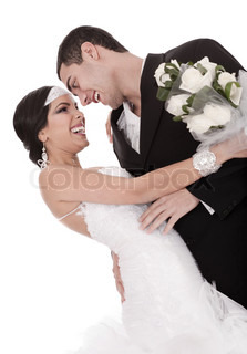 Colorful shot of a bride and groom on isolated white background