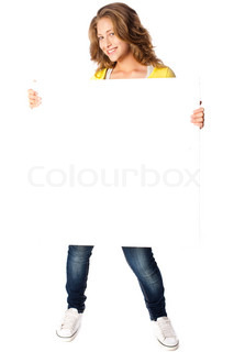Beautiful woman holding empty white board isolated on white background