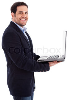 Young professional smiling with a laptop in his hand on a isolated white background