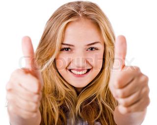 Nærbillede af kvinder der viser thumbs up i begge hænder på en isoleret hvid baggrund