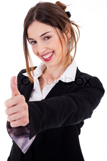 Business women showing thumbs up on a isolated white background