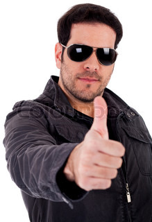 Fashion model showing thumbsup wearing sunglasses on a white background