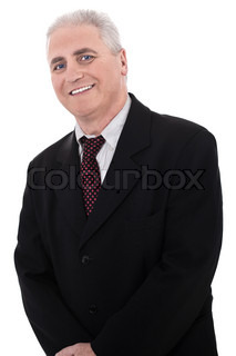 Portrait of business man on isolated white background