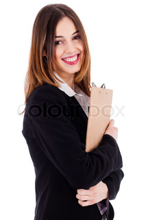 Young professional businesswoman holding a pad and smiling on a white background