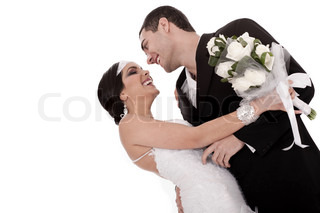 Bride and groom just married posing happily on white background