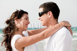 love couple look each other and smile, outdoor