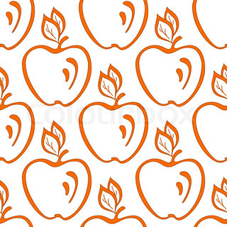 Abstract seamless vector background, symbolical fruits, orange apples on white