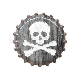 En flaske cap med et kranium og korslagte fantastisk til begreberne alkoholmisbrug eller afhængighed