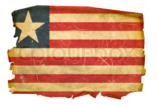 Liberian Flag old, isolated on white background