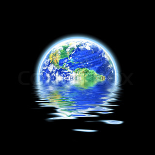 The earth floating in a pool of water that works great for flood concepts global warming or even the scuba diving and oceanography fields Original earth photo courtesy of NASA