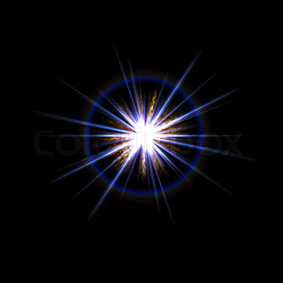 A bright solar flare over a black background.