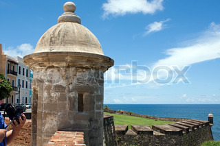 A view of the historic San Cristobal fortification towers located in Old San Juan Puerto Rico with views of El Morro