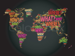 Question words world map in typography words cloud business question words world map in typography gumiabroncs Choice Image