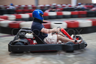 Indoor carting race (cart and safety barriers)