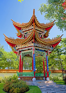 Traditional chinese garden with pavilion