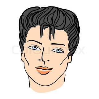 Hand-drawn fashion model Vector illustration man's face