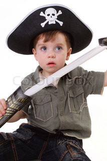 A young boy dressed as a pirate