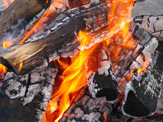 Burning wood on the barbecue