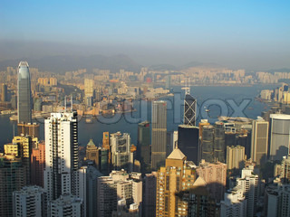 Cityscape of Hong Kong skyscrapers and skyline near the Victoria harbor