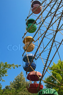 Abandoned ferris wheel in amusement park