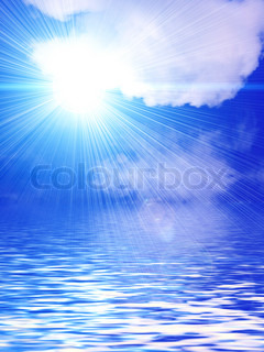 Nature abstract background with white clouds, sun, sky and water for your design