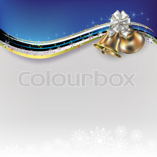 Abstract Christmas white blue greeting with bells and bow