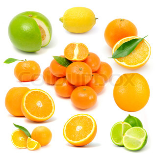 Citrus Fruit Set (Grapefruit, Lemon, Orange, Tangerine, Lime) Isolated on White Background