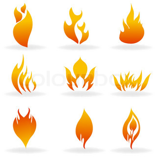 illustration of shapes of fire with white background