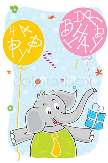 illustration of elephant with birthday balloon and gift