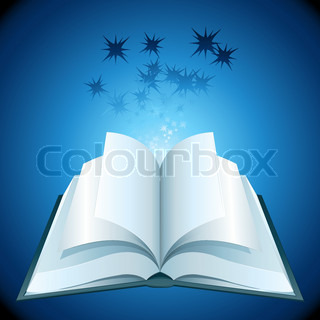 illustration of open book with stars on abstract background