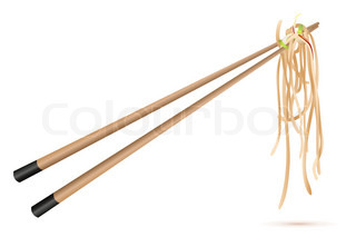 illustration of noodles with chop sticks on white background