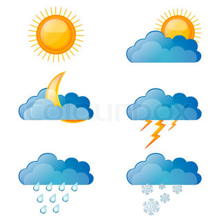 illustration of types of weather on white background