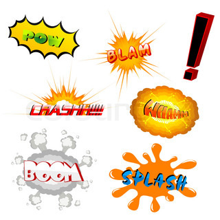 illustration of boom texts on white background