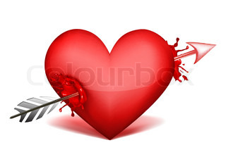 illustration of heart with arrow on white background