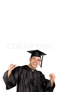 A recent graduate posing in his cap and gown and celebratingIsolated over a white background with negative space above the model