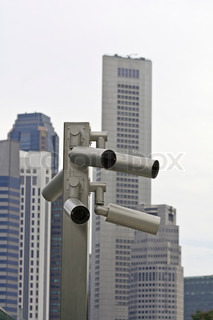 Outdoor surveillance cameras in the business district