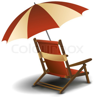 illustration of beach chair with umbrella on white background