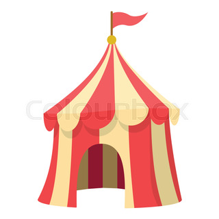 Circus tent icon cartoon style  sc 1 st  Colourbox & Cartoon circus tent with stripes and flags carnival entertainment ...