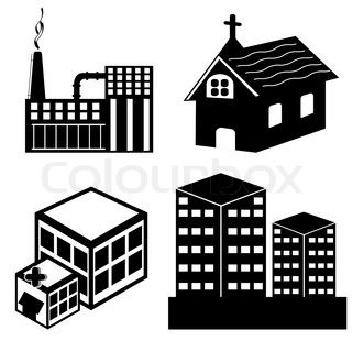 illustration of different building on white background