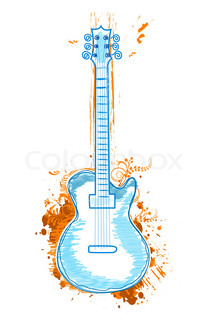 illustration of guitar icon on white background