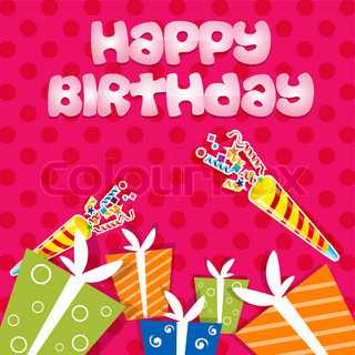 illustration of birthday card with gifts on abstract background