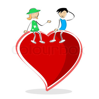 illustration of valentine card with boy and girl sitting on heart on white background