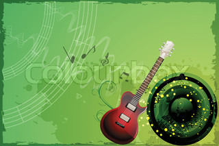 illustration of guitar on grungy musical background