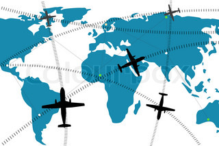 illustration of airline route on world map