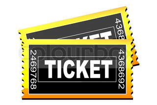 illustration of tickets icon on white background